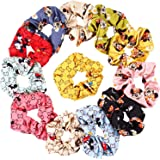 IVARYSS 12PCS colorful Scrunchies for Girls, Print Scrunchies for hair, Ponytail Holder, Cute Lucky Mouse Hair Bands for Teen