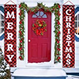 Porch Christmas Decorations, Merry Christmas Banner, Christmas Porch Sign - Large Christmas Front Door Decorations Outdoor, R