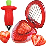 Strawberry Huller Stem Remover and Strawberry Slicer Set,Potatoes Pineapples Carrots Tomato Corer Slicer Cherry Pitter,Fruit