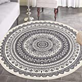 HEBE Round Area Rug, 4ft Mandala Chic Bohemian Printed with Hand Woven Tassels Living Room Circle Carpet, Indoor Floor Area M