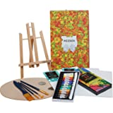 MEEDEN 22 Pcs Acrylic Painting Set with 11.8'' Tabletop Easel, 12 Colors Acrylic Paints, 3 Canvas Panels, 5 Paint Brushes & W