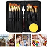 Paint Brushes for Acrylic Painting,Eocean 17 Pcs Acrylic Paint Brush Set for Kids & Adults,Professional Watercolor Brushes wi