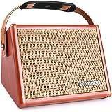 ammoon ギターアンプ アコースティックギターアンプ コンパクト BT内蔵 独立チャンネル仕様 ファーストアンプに最適 ヘッドフォン使用可 ギタースピーカー マイク充電式 15W
