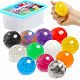 KLT 12 Pack Stress Balls Sensory Toys for Kids Adults Stress Relief, Fidget Squeeze Balls with Water Beads, Squishy Balls for