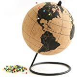 Globe Trekkers - Mini Cork Globe With 50 Different Coloured Push Pins & Durable Stainless Steel Base Great For Mapping Travel