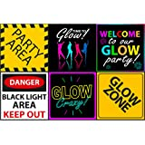 "Glow Party Sign 6"" Cutouts, Black Light Party Decorations, Slime Party Supplies, Neon Room Decorations"