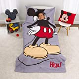 Disney Mickey Mouse - Grey, Red, Yellow & Black 4Piece Toddler Bed Set with Comforter, Fitted Bottom Sheet, Flat Top Sheet &