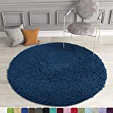MAYSHINE MayshineRound Rug 3 ft Non-Slip Chenille Shaggy Machine-Washable Dog Bed mat - Dark Blue