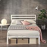Zinus White Modern Metal Steel Platform Queen Size Bed Frame Headboard Base Mattress Foundation | Wooden Slats Under Bed Stor