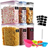 GoMaihe 4L Cereal Containers Storage set 6-Piece, Plastic Food Storage Containers with lids Airtight, Food Storage Containers