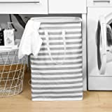JELLYMONI Grey Striped 72L Large Freestanding Laundry Hamper with Long Handles, Water Resistant Clothes Hamper, Storage Baske