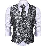 iClosam Men's Vest Waistcoat Casual Necktie Tuxedo Vest Suit Set