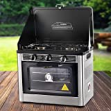 Devanti Portable Gas Stove Oven Camping 2-Burner Ranges Cooktop Outdoor Kitchen Cooker LPG 5300BTU Stainless Steel AGA-approv