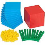 Edx Education Four Color Plastic Base Ten Set - Set of 121 - in Home Learning Manipulative for Early Math - Teach Kids Number