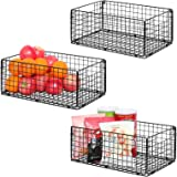 """X-cosrack Foldable Cabinet Wall Mount Metal Wire Basket Organizer Pantry Basket with Handles - 3 Pack -16"""" x 9"""" X 6"""", Food St"""