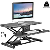 TechOrbits Electric Standing Desk Converter Workstation Rise-X E Motorized Stand Up Desk Riser for a Sit Stand Desk - Height