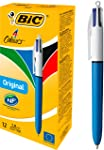 BIC 4 Colours Original Retractable Ball Pen Medium Point (1.0 mm) - Box of 12 Pens