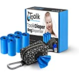 Toolik Diaper Bag Dispenser with 105 Disposable Unscented Waste Bags (7 Refill Rolls) for Baby and Toddler Poop or Dirty Clot