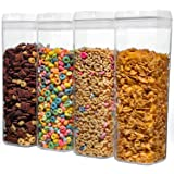 NUMYTON Airtight Food Storage Container with Easy Lock, Air-Tight Dry& Fresh Storage Set,BPA-Free Clear Durable Plastic (4PCs