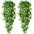 CEWOR 2pcs Artificial Hanging Plants 3.6ft Fake Ivy Vine Fake Ivy Leaves for Wall Home Room Garden Wedding Garland Outside De