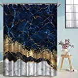 Abstract Navy Blue Marble Shower Curtain, Modern Luxury Marble with Glitter Golden Cracked Lines Fabric Bathroom Curtains, 72