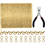 Jovitec 39.4 Feet 2 mm Link Chain Necklace Jewelry Plier with 30 Pieces Lobster Clasps and 100 Pieces Jump Rings for Jewelry