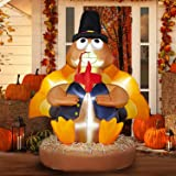 SEASONJOY 7Ft Thanksgiving Inflatables Turkey Wearing A Round Pilgrim Hat Decoration, Outdoor Thanksgiving Blow up Decor for
