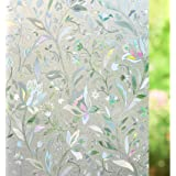 T Tersely Privacy 3D Window Film Decorative Window Cling Glass Film Reflective Window Film Non-Adhesive Window Stickers Stati