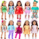 ZITA ELEMENT 24 Pcs Girl Doll Clothes Dress for American 18 Inch Doll Clothes and Accessories - Including 10 Complete Set of