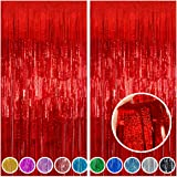 Melsan 2 Pack 3.2 ft x 8.2 ft Tinsel Foil Fringe Curtains, Sparkle Metallic Curtains for Party Photo Booth Props (Red)