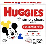 HUGGIES Simply Clean Fragrance-free Baby Wipes, Soft Pack (11-Pack, 704 Sheets Total), Alcohol-free, Hypoallergenic (Packagin