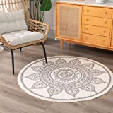 Cotton Woven Round Area Rug | Morocco Boho Floral Throw Rugs with Cute Tassels Fringe, Bedroom Living Room Children Playroom,
