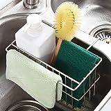 H HOME-MART Kitchen Sink Caddy, Sponge Holder,Kitchen Sink Rack, Stainless Steel Sink Hanging Storage Draining Kitchen Soap S