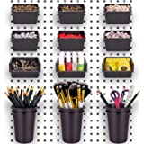 Pegboard Bins PegBoard Cups with Hooks & Loops 12 Pack Set , Peg Hooks Assortment Organizer Accessory , Various Tools Storage