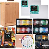 MEEDEN 70-Piece Premium Acrylic Painting Set - Solid Beech Wood Easel Box, 48×22ML Acrylic Paint Set, and All Additional Supp