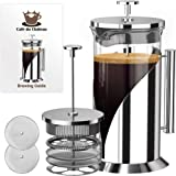 French Press Coffee Maker (8 cup, 34 oz) With 4 Level Filtration System, 304 Grade Stainless Steel, Heat Resistant Borosilica
