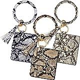 3 Packs Wristlet Bracelet Keychain PU Leather Tassel Bangle Card Holder Key Ring Purse for Women Girls