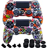MXRC Silicone Rubber Cover Skin case Anti-Slip Water Transfer Customize Camouflage for PS4/SLIM/PRO Controller x 2(Street Art