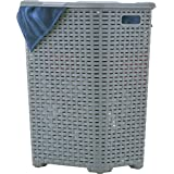 Superio Laundry Hamper Basket with Easy Open Lid 60 Liter Grey, Large Wicker Hamper, Dirty Cloths Storage with Two Cutout Han