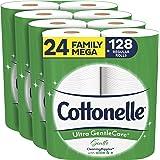 Cottonelle Ultra GentleCare Toilet Paper, 24 Mega Rolls, Sensitive Bath Tissue with Aloe & Vitamin E
