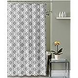 Grey White Fabric Shower Curtain: Chain Link Geometric Design