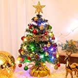 "20""/40cm Pre-lit Artificial Mini Christmas Tree with 2 LED String, 28 Christmas Ornaments and Wooden Base for Holiday Decorat"
