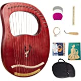 Lyre Harp, 16 Strings Mahogany Solid Wood Metal String Adult/Child Musical Instrument, With Tuning Wrench Pick, Black Gig Bag
