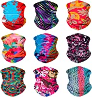 Sojourner 9PCS Seamless Bandanas Face Mask Headband Scarf Headwrap Neckwarmer & More - 12-in-1 Multifunctional for Music...
