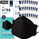 【 30 Pack 】 INT BLACK KF94 Certified, 4-Layered Face Safety, Patented Adjustable Earloop, FDA Registered Device, Individually