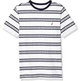 NAUTICA Boys' Short Sleeve Striped Logo Printed Crew Neck T-Shirt