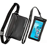 Offshore Drift 2PC Waterproof Phone Pouch Case and Waterproof Waist Dry Bag - Touch Screen Compatible - Black- Perfect for Th