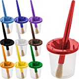U.S. Art Supply 10 Piece Children's No Spill Paint Cups with Colored Lids and 10 Piece Large Round Brush Set with Plastic Han