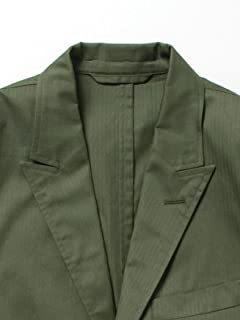 Herringbone Cotton Jacket 11-16-0922-107: Olive