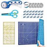 CESTLAVIE 45mm Rotary Cutter Set Quilting Kit with 5 Replacement Blades, A3 2 Color-Sided Cutting Mat, Craft Knife, Acrylic R